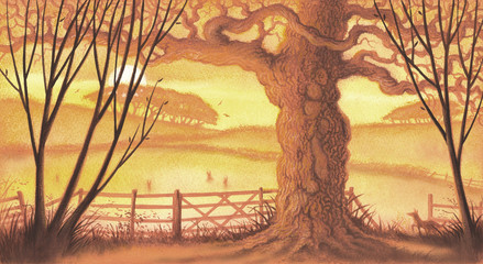 Countryside tree scene with fox and rabbits