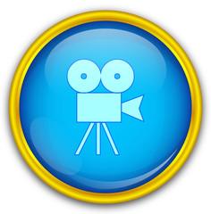 Mavi altın çerçeveli kamera ikonu