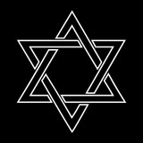 White jewish star design on black background -  illustration
