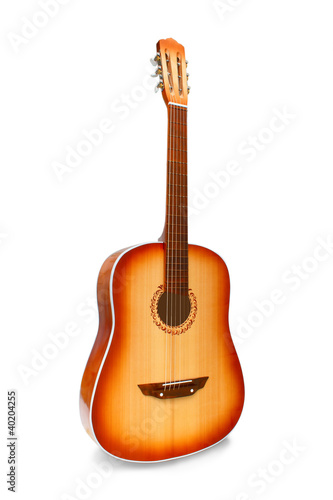 acoustic classical guitar isolated on white