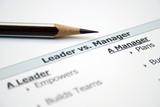 Leader versus manager poster