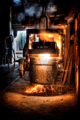 Ladle of molten steel in a iron foundry