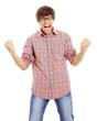 Guy shouts of joy