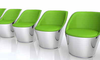 Clubchairs in a row - green silver