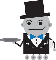 Isolated robot butler holding an empty tray