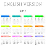 2013 English vectorial calendar with crayons
