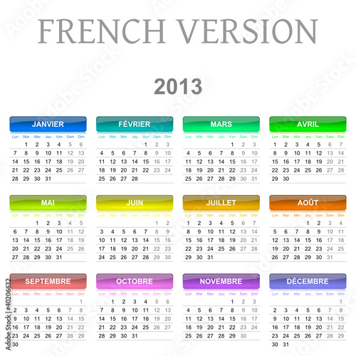 2013 French vectorial calendar