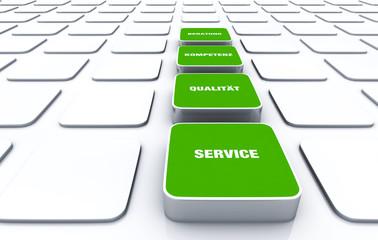Quader Konzept Grün - Beratung Kompetenz Qualität Service 7