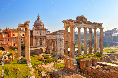Poster Roman ruins in Rome, Forum