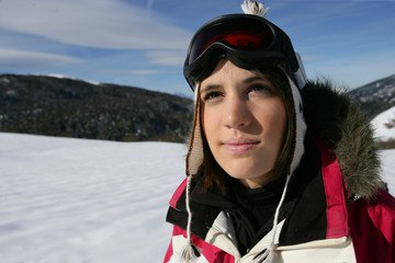 girl on a ski vacation