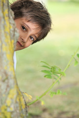 Young boy playing peek a boo around a tree