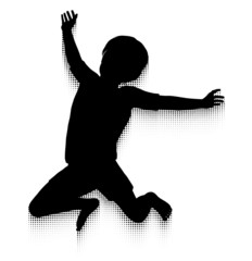 Jumping child silhouette and halftone pattern motion trail
