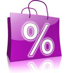 Einkaufstaschen-Serie: Prozentzeichen, violett