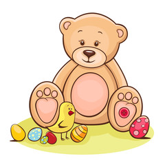 teddy and easter chicken with eggs