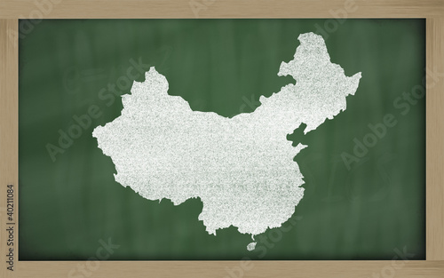outline map of china on blackboard