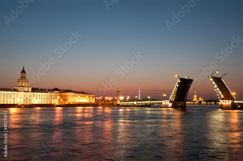 Palace  drawbridge with Vasilievsky Island, Saint Petersburg