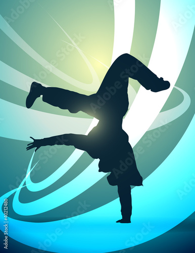 silhouette breakdance, vector