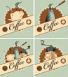 four banners on theme of coffee in retro style