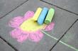 Leinwanddruck Bild - Blume mit Straßenkreiden