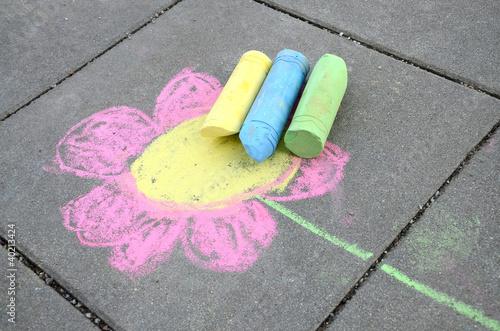 Leinwanddruck Bild Blume mit Straßenkreiden