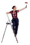 Painter standing on a stepladder