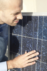 Engineer checks solar panel