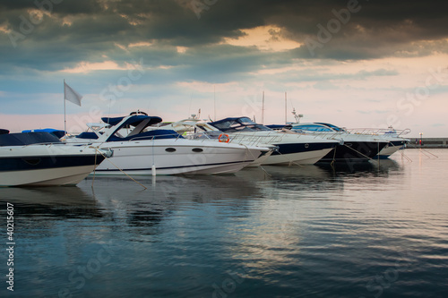 Luxury yachts in sea port