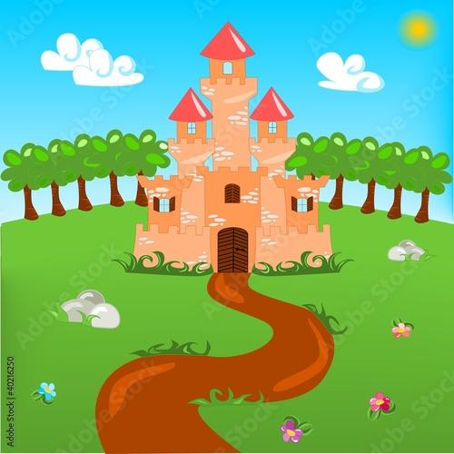 Papiers peints Chateau Cartoon illustration of castle with landscape