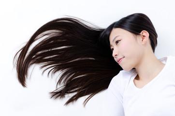 attractive asian woman sleeping