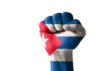 Fist painted in colors of cuba flag