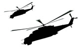Flying helicopters silhouette