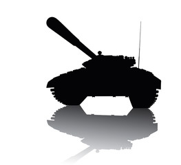 Tank silhouette with reflection