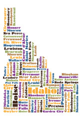word cloud map of Idaho state