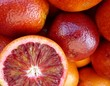 Blood oranges at the greengocer on the market