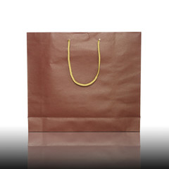 red shopping bag on reflect floor and white background