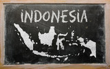 outline map of indonesia on blackboard