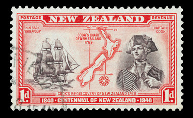 New Zealand mail stamp featuring Captain Cook, circa 1940