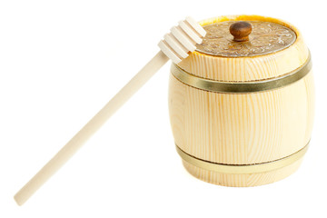 Closed wooden barrel and wooden stick for honey