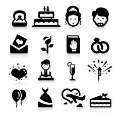 Wedding icons set elegant series