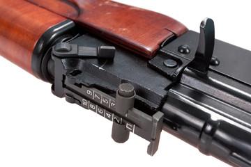 close up view of kalashnikov assault rifle