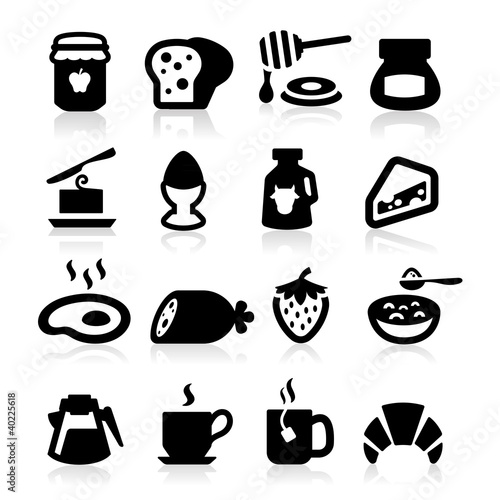 Breakfast Icons set elegant series
