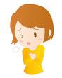 女性 動悸 息切れ 胸痛 イラスト 素材 ベクター
