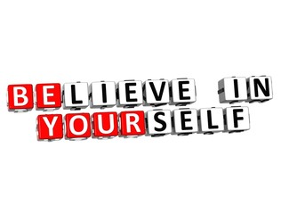 3D Believe in Yourself text