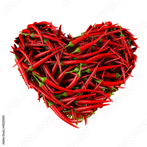 Heart made of Chili Pepper. 3D High-quality rendering