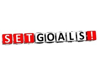 3D Set Goals Cube text