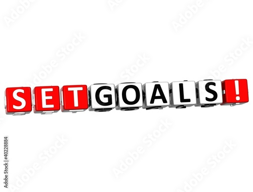 3D Set Goals Cube text