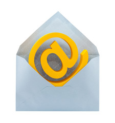 E-mail symbol and envelope with clipping path