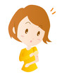 女性 腕の発疹 注射跡 パッチテスト イラスト 素材 ベクター