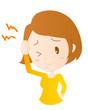 女性 頭痛 偏頭痛 疲れ イラスト 素材 ベクター