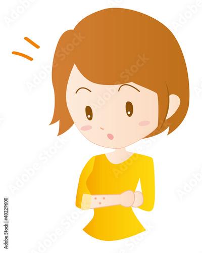 女性 腕の発疹 蕁麻疹 イラスト 素材 ベクター